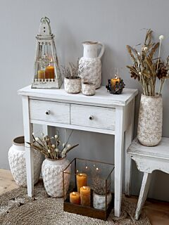 Konsolbord m. 2 skuffer, Hvid Antique, Unik Furniture