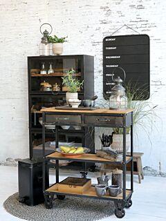Serveringsvogn på hjul m. 2 skuffer, Grantræ, Unik Furniture