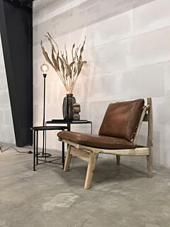 Loungestol, Natur, Læder, Træ, Trademark Living